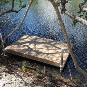 Wood Floating Dock secure with pipe