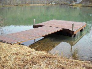 Aluminum Floating dock with shore ramp built with composite decking