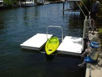 Accudock Kayak Launcher Floating Dock with Overhead Bar