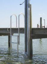Dock Ladders - Multiple Styles and Sizes. 5 step Vertical Lift Dock Ladder - Down